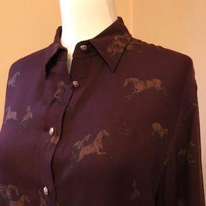 LAUREN RALPH LAUREN Equestrian Horse Print Shirt